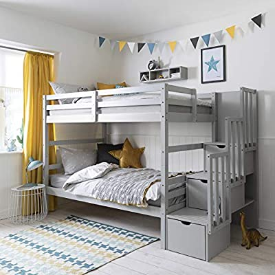 Noa and Nani - Maya Bunk Bed with Steps and Drawers - (Silk Grey)