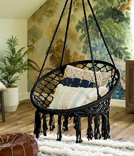 BXT Hängesessel aus Makramee-Seil, handgefertigt, für drinnen und draußen, Baumwolle, Hängematte, für Garten und Terrasse, Boho-Schaukel mit Fransen, Fransen, 120 cm, 300 Pfund Kapazität