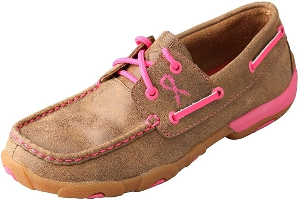 Twisted X Kid's TETWP Boat Shoe Driving Moc, Bomber/Neon Pink, 11.5(M)