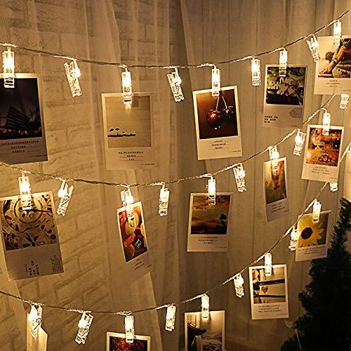 Cadena de luz Clip de fotos Navidad Decoración de luz LED Año nuevo Regalo de cumpleaños Cadena de luz de hadas Batería 6m60 leds