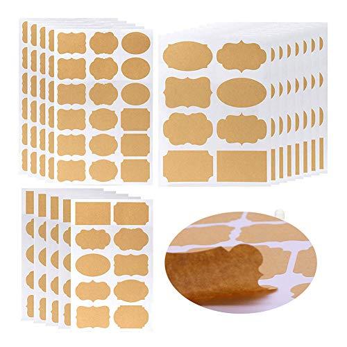 Xstar Kraft Etiketten Selbstklebende Kraftpapieraufkleber DIY leere Kraftaufkleber Geschenkanhänger für Einmachgläser und Geschenkdekoration, 18 Blatt (204 Stück)