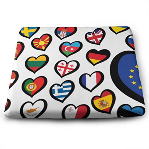 Song Festival Euro Songfestival Eurovision Contest ChairPadForOfficeChair CuteSeatCushion 15 X 13.8 Inch Removable Washable Anti-dust SquareSeatCushionOutdoor For Office, Kitchen,home Or Ca