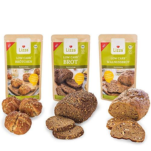 Lizza Low Carb Brot-Mix Vorratspack 3x 1kg Backmischungen in 3 Varianten | Bis zu 89% weniger Kohlenhydrate | 100% Bio, Glutenfrei & Vegan | Keto | Protein- & Ballaststoffreich | 6-Wochen-Vorrat