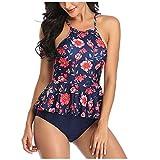 Vobery Tankini-Badeanzüge für Frauen, zweiteiliges gepolstertes Bikini-Set mit Blumendruck für Damen, hochgestecktes Tankini-Oberteil und hoch taillierte Unterteile (blau, S)