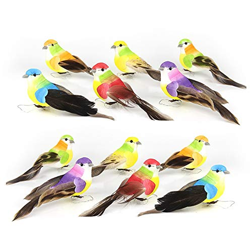 12 Pcs Simulated Birds Ornament Beautiful Animal Bird Decor Animal Statues Tree Lawn Home Garden Decoration