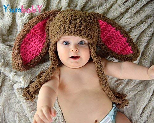 Tan /& Pink Easter Bunny hat with bow and diaper cover set~ Newborn to 24 Mos photo prop~stand up ears~pom pom~FREE SHIPPING