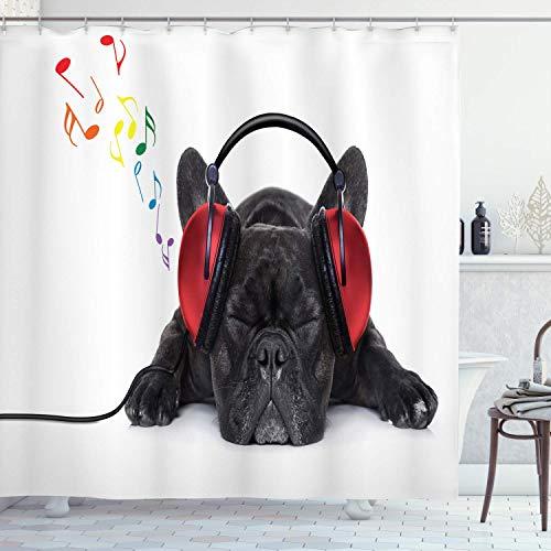 ASDAH 48X72inch hond liefhebber douchegordijn Bulldog luisteren naar muziek met koptelefoon tijdens het ontspannen slapen op vloer doek stof badkamer Decor Set met haken