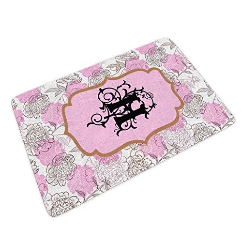 Rcerirt Flower Hochleistungs Fußmatten für Fußmatten wasserdicht halten Sie Ihre Böden sauber mit Rutschfester Gummi für Eingang/Patio/Vordertür/Allwetter-Außentüren Flower White 40x60 cm
