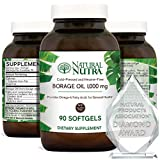 Natural Nutra Borage Oil, Omega 6 Essential Fatty Acids Supplement with GLA, Linoleic, Oleic and Palmitic Acid, Cold Pressed, Herbicide and Pesticide Free, 90 Softgels
