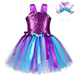 FONLAM Vestido Disfraz de Sirena Niña Bebé Vestido Tutú Princesa Bautizo Fiesta Niña Carnaval Halloween (Lentejuelas Moradas, 3-4 Años)