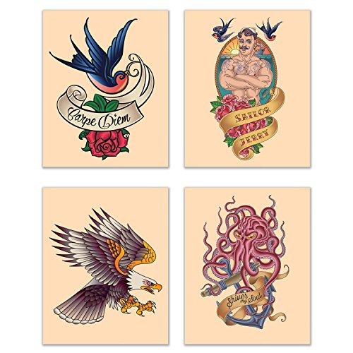 Summit Designs Tattoo Wall Decor Art Prints - Set of 4 (8x10) Poster Photos - Eagle Carpe Diem Rose Octopus - Norman Keith Collins