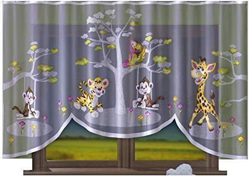 Home Dekorator Vorhang Gardine mit Kräuselband Kinderzimmer Kindergardine Junge Weiß 300 cm Extra Breit Dschungel Motiv Scheibengardine Kurzgardine Transparent Kurz Durchsichtig hat kein Raffenband
