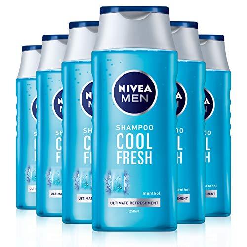 NIVEA Men Cool Fresh Shampoo 250 ml, tägliches Shampoo für Männer, kühle & erfrischende Haarpflege, Menthol-Shampoo geeignet für normales bis fettiges Haar, 6 Stück