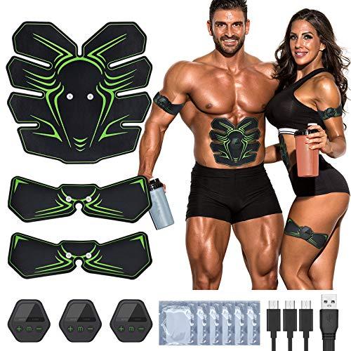 RIRGI EMS Muskelstimulator Set USB Wiederaufladbar EMS Trainingsgerät Bauchmuskeltrainer mit 10 Modi 20 Intensität Muskeltrainer Elektrisch[Gratis 12 STK.Gelpads]