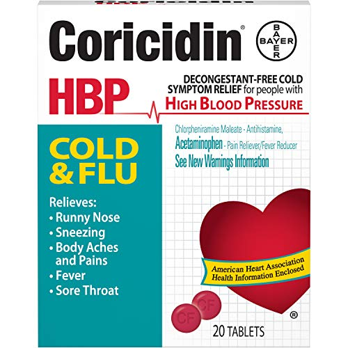 Coricidin HBP, Decongestant-Free Cold Symptom Relief for People with High Blood Pressure, Cold & Flu Tablets, 20 Count
