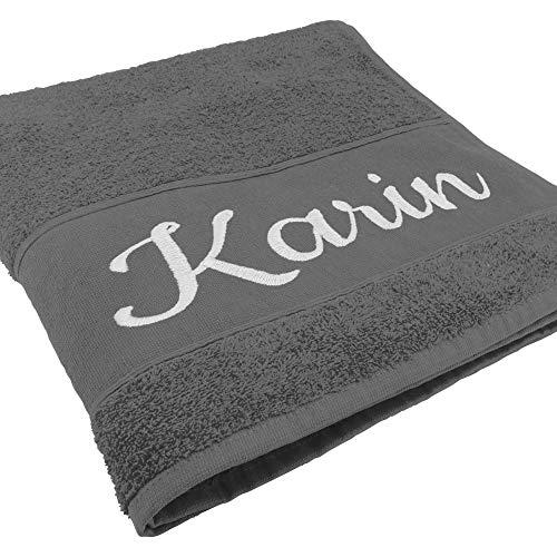 Handtuch mit Namen oder Wunschtext Bestickt, personalisiertes Duschtuch, individuelles Badetuch, 100% Baumwolle, 140 x 70 cm, anthrazit