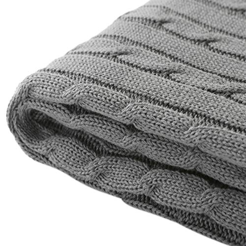 Treely 100% Cotton Cable Knit Throw Blanket Super Soft Warm for Chair Couch Bed(Gray,50' x 60')
