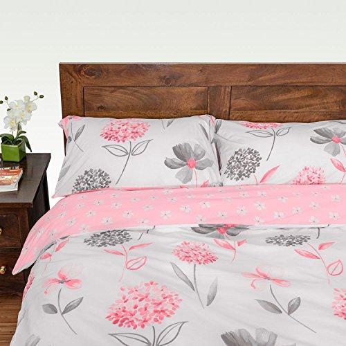 HOMESCAPES -Parure de lit Housse de Couette et taie d'oreiller Motif Fleurs Roses - 200 x 200 cm