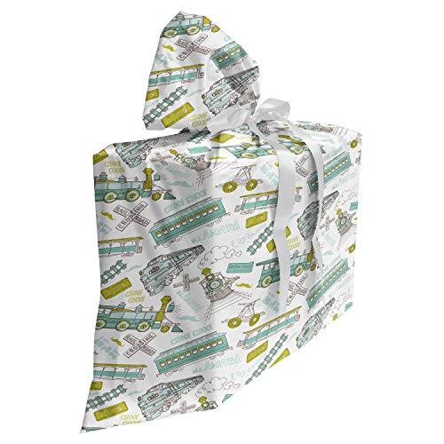 ABAKUHAUS Máquina de vapor Bolsa de Regalo para Baby Shower, tren infantil, Tela Estampada con 3 Moños Reutilizable, 70 cm x 80 cm, Manzana verde turquesa