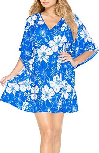 LA LEELA Mujeres Likre súper Blando v Cuello Kimono Traje baño Ocasional Hibisco Hawaiano Batik Caribe más tamaño 4 en 1 Playa la Libertad Encubrir caftán túnica básica Superior Vestido Azul