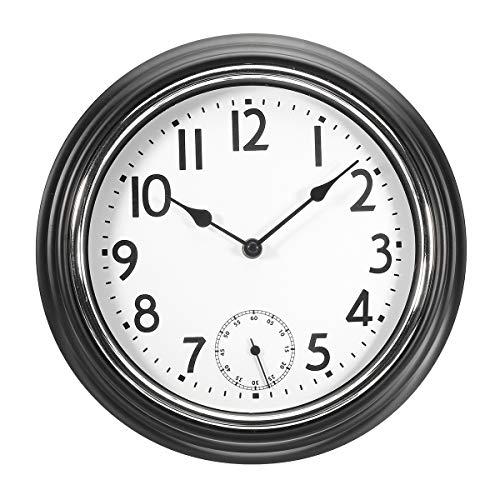 TuToy grote niet-tikken stille Binnen/buiten Tuin Muur Klok Waterdichte Thermometer, white, 1