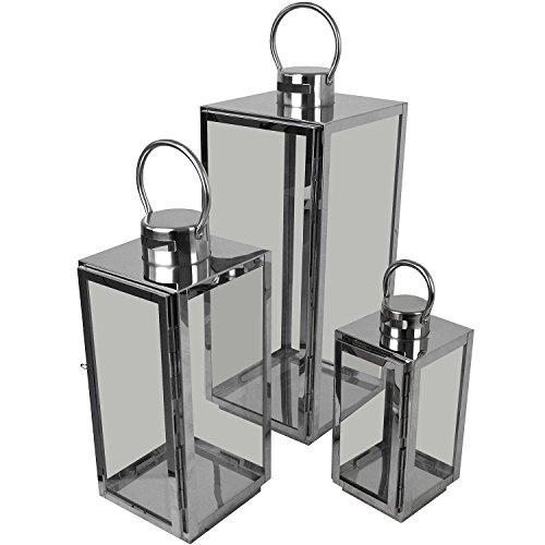 Multistore 2002 3er Set Laternen mit Henkel H56/42/30cm aus Edelstahl/Glas Laternen Windlichter Gartendekoration Silber