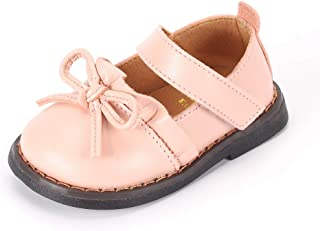 Toddler Girls Leather Shoes Baby Girl Mary Jane Flats with Bow-Knot