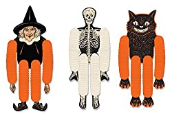 Vintage Halloween witch, skeleton and cat decorations
