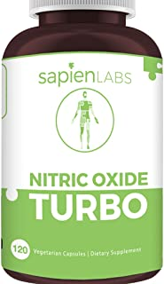 Sapien Labs Nitric Oxide Supplement Pre Workout - Muscle Building Pure Nitro Energy Booster, Made in USA, Max L Arginine, Beet Root, Rhodiola Extract, Build Muscle, 120 Vegetarian Capsules