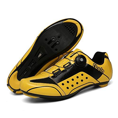 CHANGAN Zapatillas de Ciclismo EVO Rojo, para Carretera, con Suela de Carbono,Muy rigida y Ligera y Triple Tira de Velcro. Yellow-41