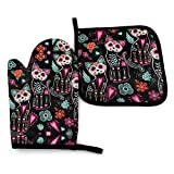 Halloween Cat Halloween Kitchen Oven Mitts and Pot Holders Sets of 2,Resistant Hot Pads ,Flexible Cooking Oven Gloves for Microwave BBQ Cooking Baking Grilling