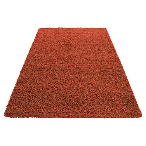 Teppich Hochflor Shaggy Teppich Unicolor einfarbig Teppich farbecht Pflegeleicht, Maße:120 cm x 170 cm, Farbe:Orange