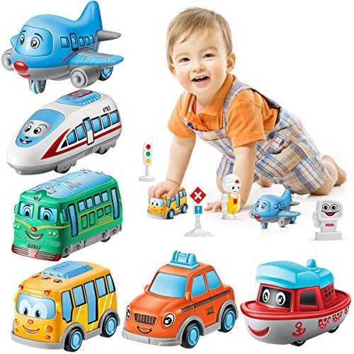 Geyiie Cartoon Cars Toy, Pull Back Cars Mini Alloy Helicopter Boat Toy Play Set 1:64 Scale, Metal Die Cast Vehicle for Babies Boys Girls Toddlers Kids Party Favors, 6 Pack