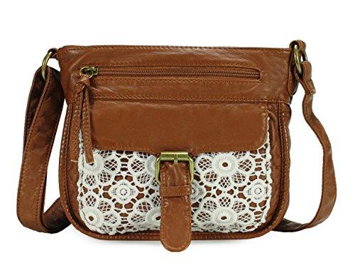 Scarleton Mini Lace Crossbody Shoulder Bag for Women, Ultra Soft Washed Vegan Leather, Brown, H192604