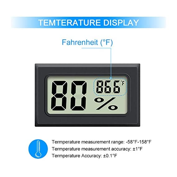 Mini Hygrometer Thermometer 2PCS Mini Digital Humidity Gauge, AikTryee Hygrometer Indoor Humidity Monitor, Temperature… 2 【EASY TO INSTALL】 Mini Digital Hygrometer Thermometer is Easy to know current temperature and humidity,Embedded opening size (1.81*1.06 inch) or fixed with double-sided tape. 【High Precision Display】 Hydrometer Temperature measurement accuracy: ±2℉; Humidity measurement accuracy: ±3%RH. 【WIDE TEMPERATURE TEST】Mini thermometer Temperature measuring range -58℉-158℉ ; Humidity measuring range 10%-99%RH.