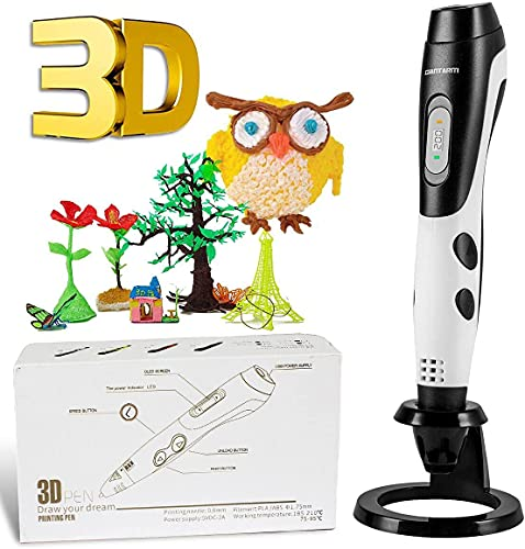 GIANTARM Penna 3D Professionale Penna 3D Stampa + 12 Colori Set filamento PLA, Temperatura Regolabile/velocità, ugello sostituibile, Penna Stampa 3D Regalo Creativo Fai da Te, Compatibile con ABS/PLA