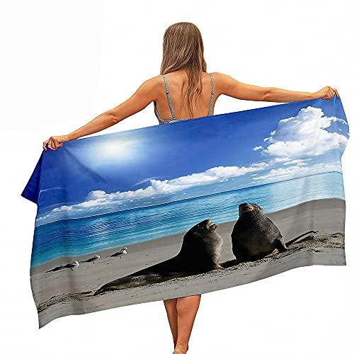 Himlaya Toalla de Playa Grande Anti-Arena Absorbente Toallas Deportivas, Microfibra 3D León Marino Toalla de Secado Rápido, Animal Impresión Toalla Baño para Natación (Pareja,70x150cm)