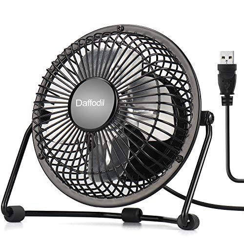 Daffodil 7 Pulgadas USB Ventilador de Mesa UFN100- Ventilador de Escritorio Silencioso y Potente Portátil- Mini Fan de Verano