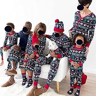 USMEI Familie Matching Pyjama Set, Xmas Nachtkleding Bijpassende Kerst Pjs Katoen Jammies, Vakantie Leuke Gedrukt Loungewe...