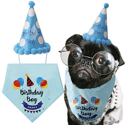 LUTER Hund Geburtstag Bandana Dreieck Schals niedlichen Hund Geburtstag Partyhut Happy Birthday Boy Print für Hund oder Welpe Geburtstag Dekor (Blue)