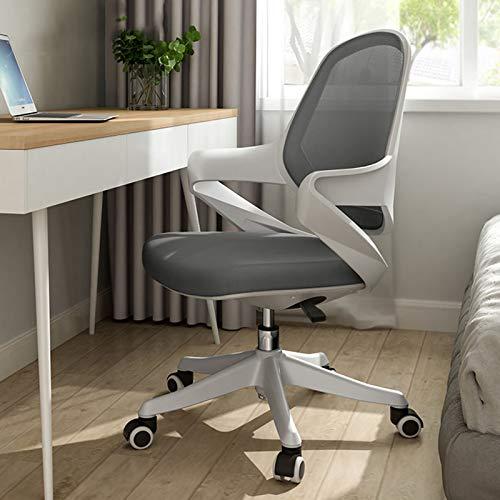 FWNT Mesh Computer Chair, Home Lifting Drehstuhl Ergonomisches Büro Mit Hoher Rückenlehne Und 17 ° Liegefläche, Armlehnen Für Schlafzimmer, Arbeitszimmer (Grau, Pink)