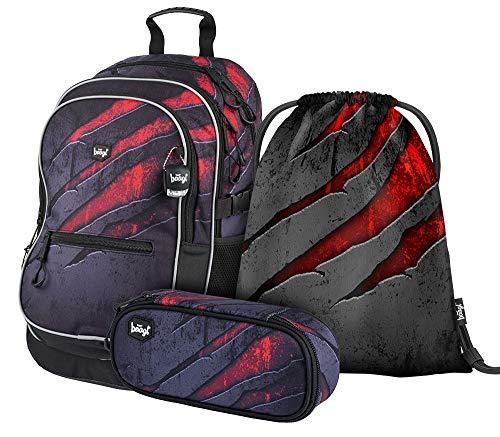 Schulrucksack Set 3 Teilig, Schultasche ab 3. Klasse, Grundschule Ranzen mit Brustgurt, Ergonomischer Schulranzen (Volcano)
