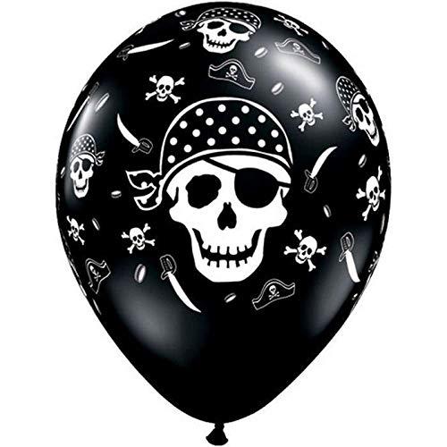 Qualatex 45 565,1 cm Round Impression Retail Pirate Tête de Mort et os de Croix/BLK Balloon, 27,9 cm, 6 pièces