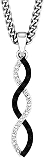 0.13 Carat (ctw) Round Black & White Diamond Infinity Pendant (Chain Included), Sterling Silver