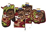 Celebration Wine Glass Bottle Barrel Kitchen Linen Set (Includes: one Oven mitt, Two Towels, and Two Pot Holders)