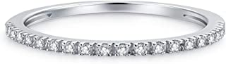 1.5mm Rhodium Plated Sterling Silver Riviera Petite Micropave Cubic Zirconia CZ Half Eternity Ring