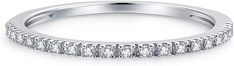 Hafeez Center 1.5mm Rhodium Plated Sterling Silver Riviera Petite Micropave Cubic Zirconia CZ Half Eternity Ring