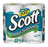 Scott Rapid-Dissolving Bathroom Tissue, 1-Ply, Unscented, Case Pack, Five 4 Roll Packs, 800 Sheets Each (20 Rolls)
