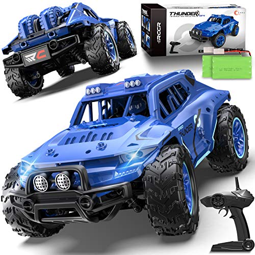 Remote Control Car, Uniway Scale RC Cars 4WD 30 KM/H 2.4 GHZ High Speed Racing Car for Boys and Girl 6-12 Gift, 35+ Min Play, RC Trucks 4x4 Offroad with 2 Rechargeable Batteries-Blue