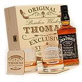 'Caja de madera con jack Daniels No. 7| 6piezas Whisky Set de regalo New York Bar Incluye grabado Diseño–Original de Exclusiva '
